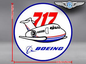 BOEING 717 B717 VINTAGE PUDGY STYLE ROUND DECAL / STICKER