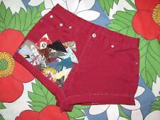 Vintage high waist cut off jeans shorts handmade uPcycle fabric art collage red