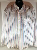 G.H Bass & Co size XL White with Blue/Pink Stripes Long Sleeve Button Up Shirt
