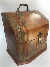 """9"""" Fine Italian Gold Hand Tooled Tan Leather Letter Desk Compartments Travel Box"""