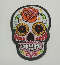 White Sugar Skull Embroidered Iron On Patch A1710