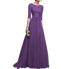 Long Sleeve Lace Evening Maxi Dress Formal Party Ball Gown Prom Bridesmaid Plus