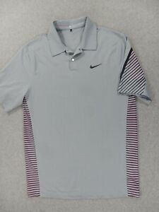 Nike Tiger Woods Collection Golf Polo Shirt (Mens Small) Gray/Purple