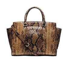 NWT Michael Kors Selma Large Top Zip Python Embossed Leather Satchel  Sand $398