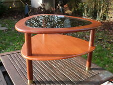 LOVELY QUALITY VINTAGE RETRO TWO TIER GLASS TOP TABLE.