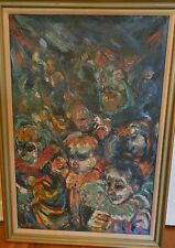 Large Abstract Painting of Clowns