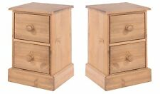 Thule 2x 2 Drawer Bedside Cabinet Tables Solid Pine Medium Wood Bedroom