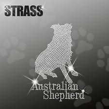 Australian Shepherd Cane APPLICAZIONE foto strass FERRO STIRO hotfix 22cm largo