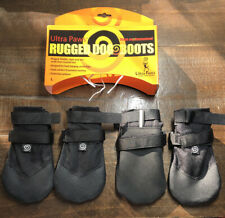 Ultra Paws Rugged Dog Snow Rain Traction Black Boots Booties LARGE NEW Set Of 4