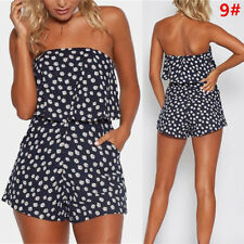 UK Womens Holiday Mini Playsuit Ladies Summer Beach Party Jumpsuit Shorts Dress