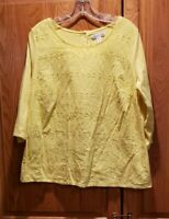 Coldwater Creek Yellow Eyelet Scoop Neck Long Sleeve Top Blouse Size XL