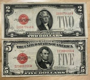 US Paper Currency 1928 Collection $5 Dollar Red & $2 Dollar Red Seals 1928 ONLY