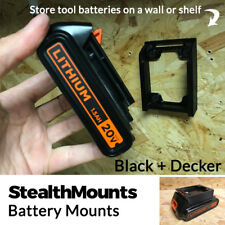 2x StealthMounts for Black and Decker Battery Holder Mount Slot Wall Drill Van