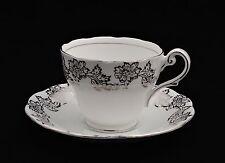 Royal Standard Tea Cup Saucer Set Floral Silver White Scalloped Vintage
