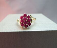 10k Yellow Gold Red Ruby Cluster Ring 10 Stones 3/4 CTTW Size 6.75 Gem 2.6g