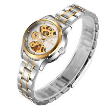 Luxury Women Wristwatch Gold Skeleton Automatic Mechanical Stainless Steel Watch