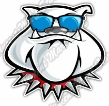 "Bulldog Dog Funny Cartoon Face Glasses Car Bumper Vinyl Sticker Decal 4""X5"""
