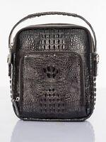 Black Genuine Alligator, Crocodile Leather Men's Shoulder Bag