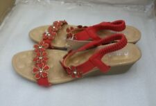 COTTON TRADERS Ladies Jewelled Wedge Sandals - Red - UK 8