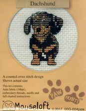 14ct Counted Cross Stitch Kit - Mouseloft - Paw Prints - Dachshund Dog counted