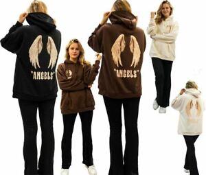 Womens Hoodie Oversized Angel Wings Ladies Casual Long Sleeve Jumper Top