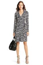 Diane Von Furstenberg New Jeanne Two Glass Weave Silk Jersey Wrap Dress 2 XS