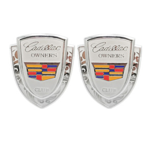 2x Silver Cadillac Owners Club Side Trubk Emblem Badge for ATS CTS XTS Escalade