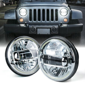 "Xprite 7"" Chrome 60W LED Headlights w/ Halo DRL for Jeep Wrangler JK/JKU LJ TJ"