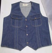 Vintage DC Dee Cee Brand Denim Jean Vest Size 44 Authentic Western Wear Snap USA