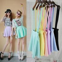 Girl Unique Waist Suspender Skirt Pastel Skater Flared Pleated Dress Bright HFAU