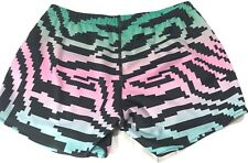 Ladies Runner's Shorts ASICS Pink Green Black Womens Training Zebra Print