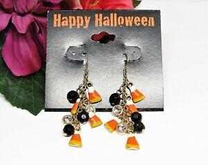 Treat! KC Goldtone Rhinestone Enamel Pierced Halloween Candy Corn Earrings NEW!