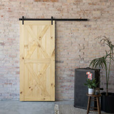 "Double X Sliding Barn Door Pine Unfinished Natural Wood 36"" x 84"" inches"