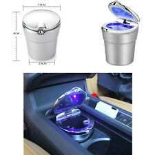 Car Cigarette Ashtray Ash Blue LED Light Smokeless Stand Cylinder Cup Hold