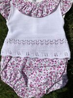 Spanish Knitted Romper Newborn Baby Girls Jam Pants White Flowers 0-3 3-6 Mths