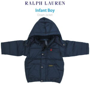 Polo Ralph Lauren Baby Hooded Down Puffer Jacket Coat - Navy with pony - size 9m