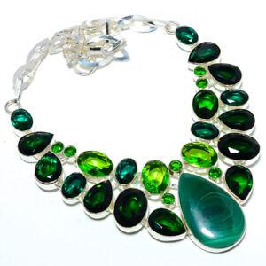 "Malachite - Congo & Peridot 925 Sterling Silver Handmade Necklace 17.99"" F2575"