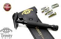 Vintage Stainless Steel Double Edge De Safety Razor +15 DE Astra Blades & Pouch