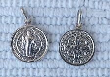 St Saint Benedict Pendant 925 Sterling Silver Catholic Medal Charm 0.45 inches