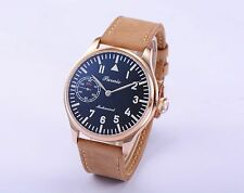 44mm Parnis Hand Winding Mechanical Men's Casual Watch Leather Strap Best Gift