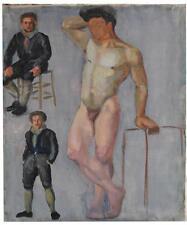 Etude de peinture homme assis debout XXème
