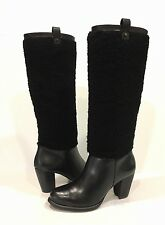 UGG AVA EXPOSED FUR TALL BOOTS BLACK SUEDE HIGH HEEL KNEE HIGH SIZE US 7 -NIB