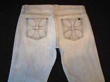 Habitual Jeans Low Bootcut w Celtic Cross Pocs Light Blue 100% Cotton Sz 30