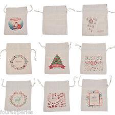 1 Sac Sachet Pochette Toile à Voile Motif Noël Pr Bonbons Cadeau Noël Au Choix