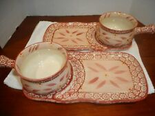 2 SETS TEMP-TATIONS OLD WORLD RED SOUP BOWLS AND SANDWICH PLATTERS