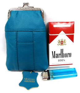 Soft Leather Cigarette Case  Snap Top Fit 100s Black, Red, Tan, Hot Pink, Purple