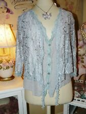 PRETTY ANGEL Boho VINTAGE CHIC Dove Gray LACE LAYER BOLERO BLOUSE TOP SHRUG XL