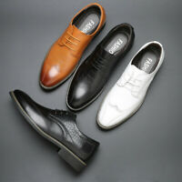 Men's Wingtip Brogue Leather Derby Shoes Business Formal Dress Wedding Oxfords