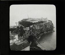 Monaco Le Rocher ca 1900 Plaque de projection Verre cassé