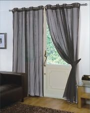 Pair of Black 59'' x 48'' Voile Net Eyelet / Ring Top Curtain Panel + Tie Back